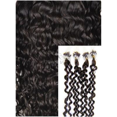 Kudrnaté micro ring vlasy, 50 cm 0,7g/pr., 50 pramenů - TMAVĚ HNĚDÉ