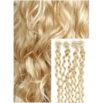 Kudrnaté micro ring vlasy, 50 cm 0,7g/pr., 50 pramenů - NEJSVĚTLEJŠÍ BLOND