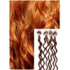 Kudrnaté micro ring vlasy, 50 cm 0,7g/pr., 50 pramenů - MĚDĚNÉ