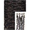 Kudrnaté micro ring vlasy, 60 cm 0,5g/pr., 50 pramenů - TMAVĚ HNĚDÉ