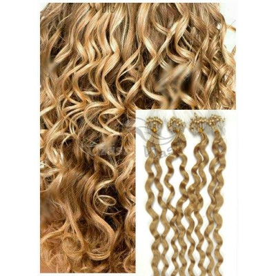 Kudrnaté micro ring vlasy, 60 cm 0,5g/pr., 50 pramenů - PŘÍRODNÍ BLOND