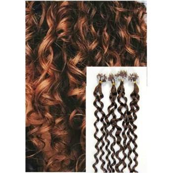 Kudrnaté micro ring vlasy, 60 cm 0,7g/pr., 50 pramenů - SVĚTLEJŠÍ HNĚDÉ