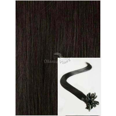 Vlasy na keratin, 40 cm 0,5g/pr., 50 pramenů - PŘÍRODNĚ ČERNÉ
