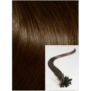 Vlasy na keratin, 50 cm 0,5g/pr., 50 pramenů - STŘEDNĚ HNĚDÉ