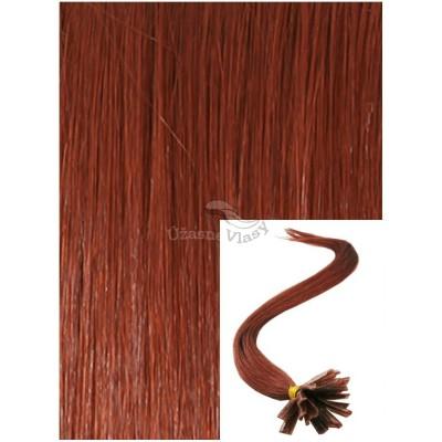 Vlasy na keratin, 50 cm 0,5g/pr., 50 pramenů - MĚDĚNÉ