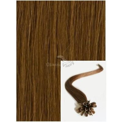 Vlasy na keratin, 60 cm 0,5g/pr., 50 pramenů - SVĚTLEJŠÍ HNĚDÉ