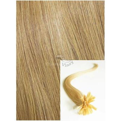 Vlasy na keratin, 60 cm 0,5g/pr., 50 pramenů - PŘÍRODNÍ BLOND