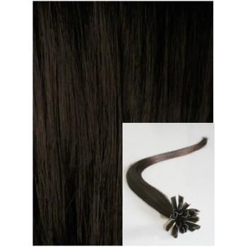 Vlasy na keratin, 60 cm 0,5g/pr., 50 pramenů - TMAVĚ HNĚDÉ