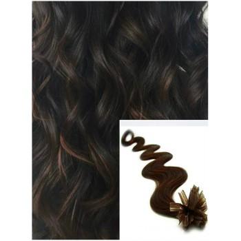 Vlnité vlasy na keratin, 60 cm 0,7g/pr., 50 pramenů - TMAVĚ HNĚDÉ