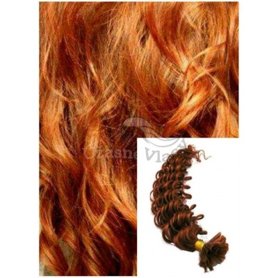 Kudrnaté vlasy na keratin, 50 cm 0,5g/pr., 50 pramenů - MĚDĚNÉ
