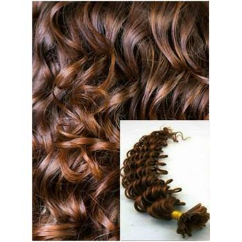 Kudrnaté vlasy na keratin, 50 cm 0,7g/pr., 50 pramenů - STŘEDNĚ HNĚDÉ