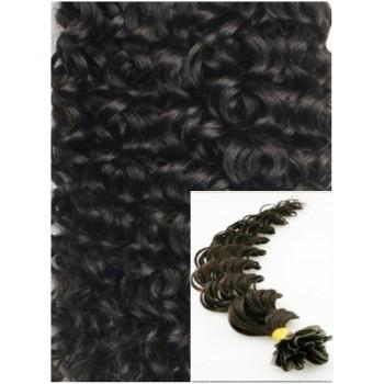 Kudrnaté vlasy na keratin, 60 cm 0,7g/pr., 50 pramenů - PŘÍRODNĚ ČERNÉ