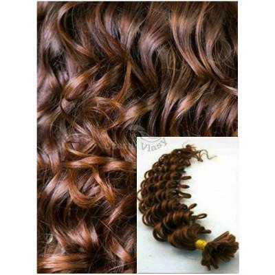 Kudrnaté vlasy na keratin, 60 cm 0,7g/pr., 50 pramenů - STŘEDNĚ HNĚDÉ