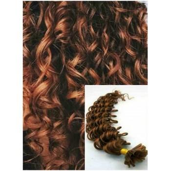 Kudrnaté vlasy na keratin, 60 cm 0,7g/pr., 50 pramenů - SVĚTLEJŠÍ HNĚDÉ