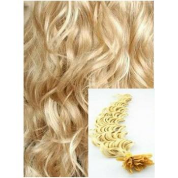 Kudrnaté vlasy na keratin, 60 cm 0,7g/pr., 50 pramenů - NEJSVĚTLEJŠÍ BLOND