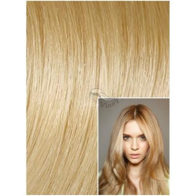 DELUXE Clip in 40cm 140g REMY lidské vlasy - PŘÍRODNÍ / SVĚTLĚJŠÍ BLOND