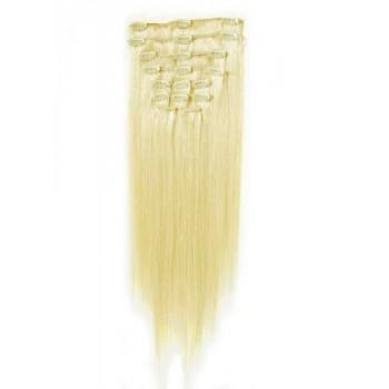 Platinové blond vlasy k prodloužení - Clip-in set, 8 ks, 50 cm
