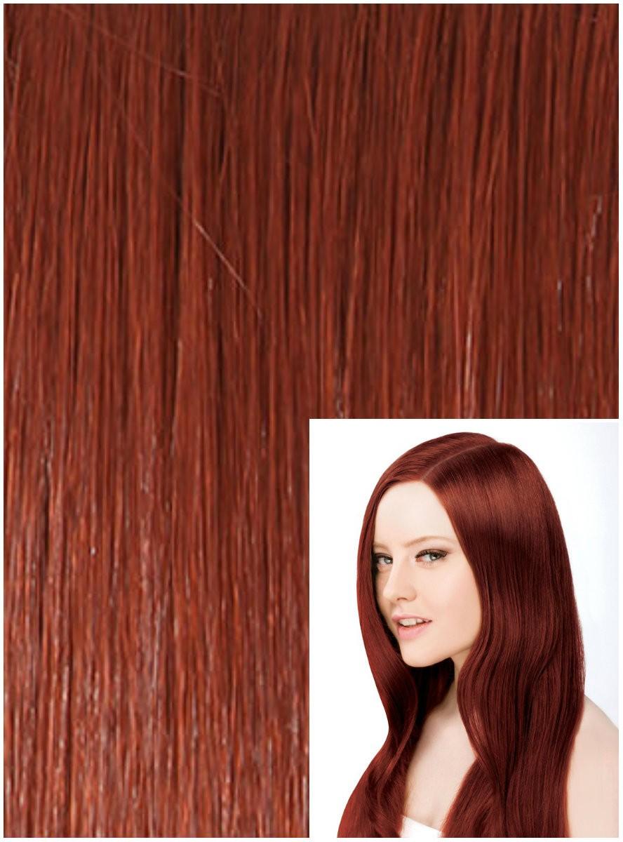 Clip in 40cm 100g REMY lidské vlasy - MĚDĚNÉ