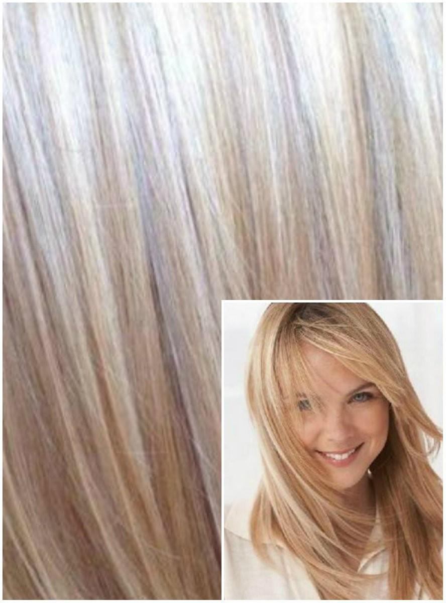 Clip in 40cm 70g REMY lidské vlasy - PLATINOVÁ BLOND / SVĚTLE HNĚDÁ