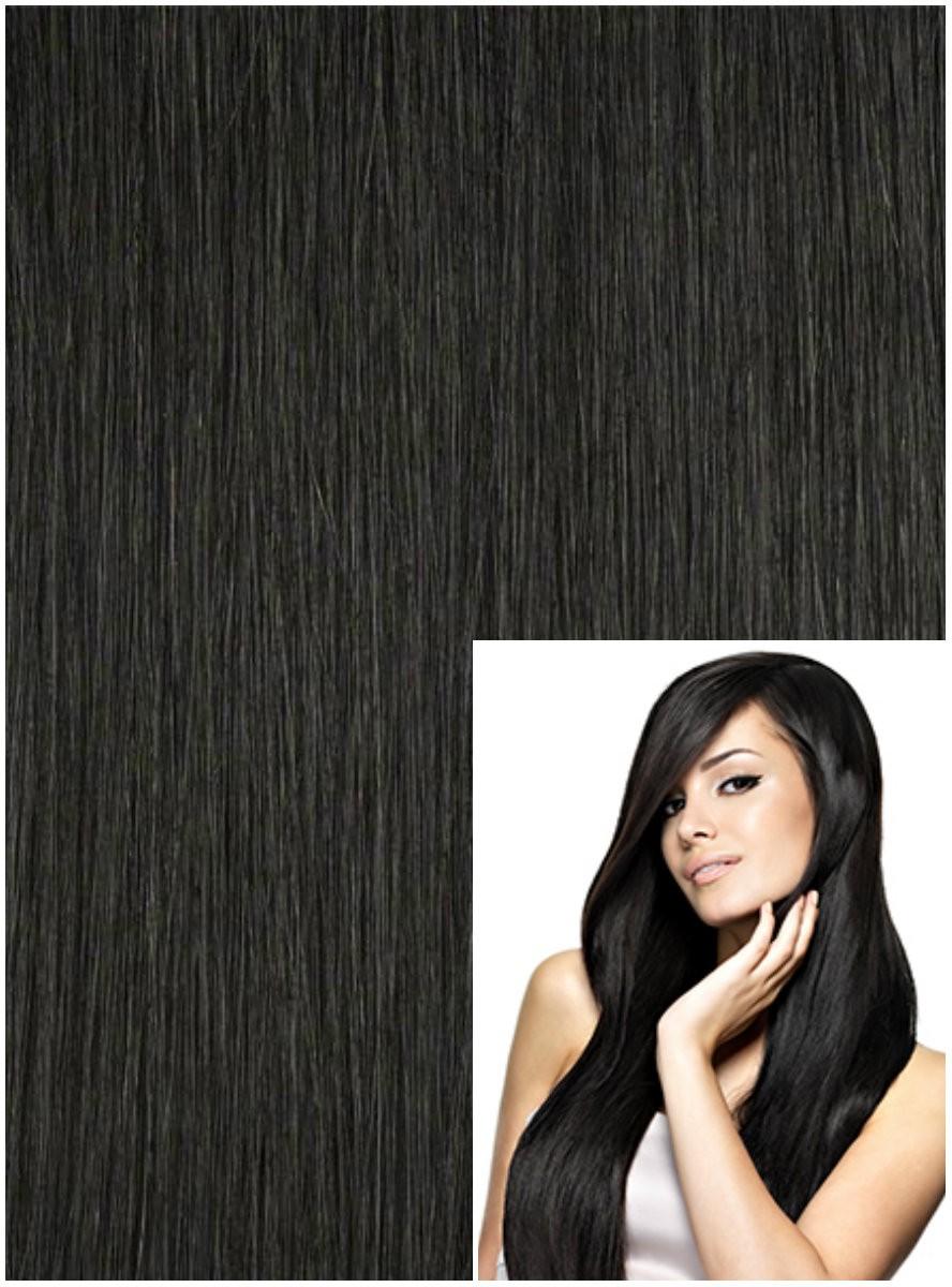 Clip in 60cm 120g REMY lidské vlasy - ČERNÉ