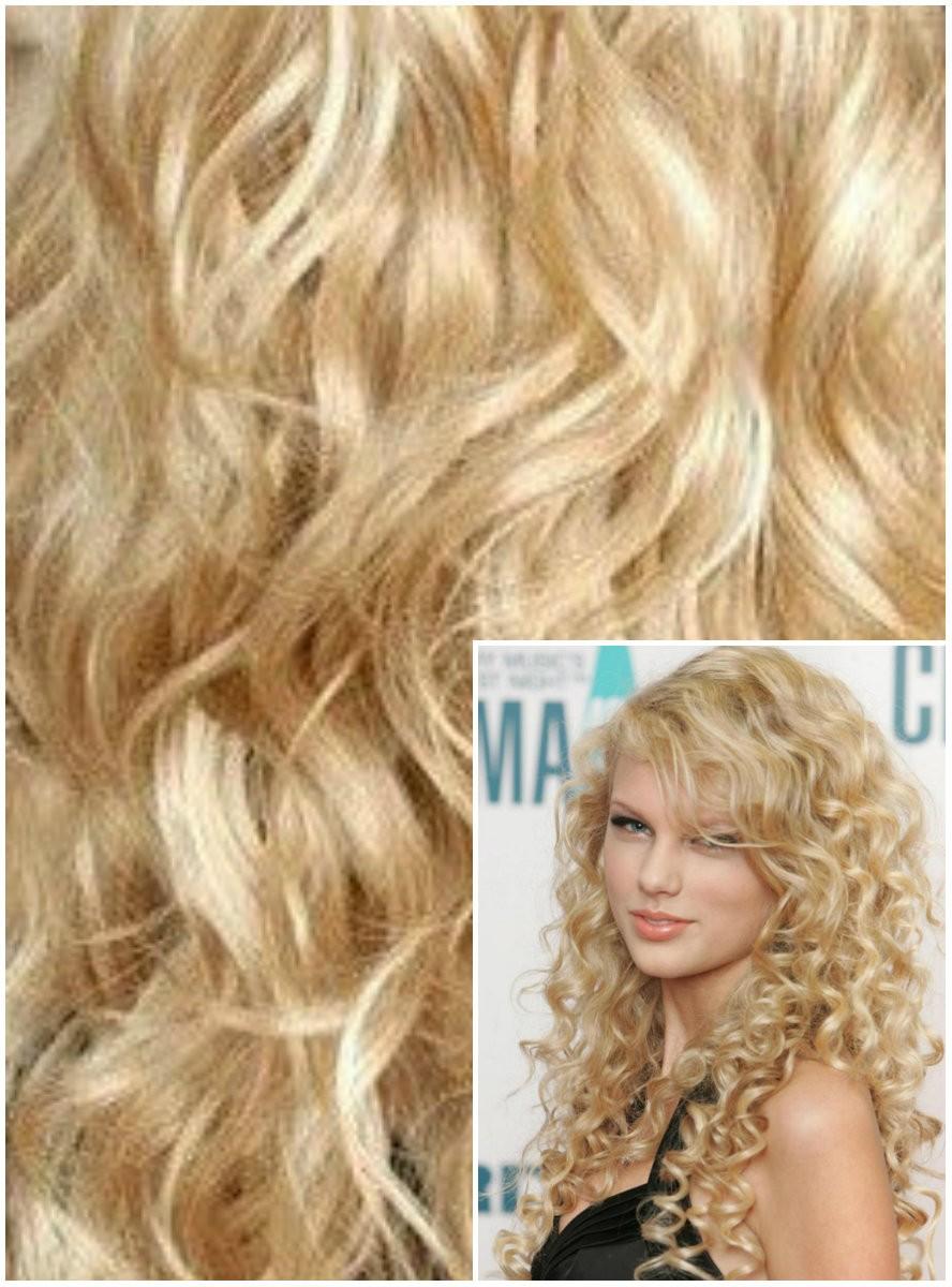 Clip in KUDRNATÉ 50cm 100g REMY lidské vlasy - NEJSVĚTLEJŠÍ BLOND