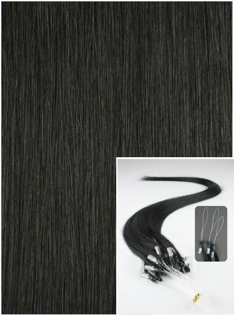 Micro ring vlasy, 40 cm 0,5g/pr., 50 pramenů - ČERNÉ