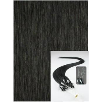 Micro ring vlasy, 40 cm 0,7g/pr., 50 pramenů - černé