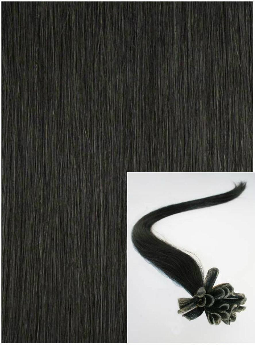 Vlasy na keratin, 40 cm 0,7g/pr., 50 pramenů - ČERNÉ
