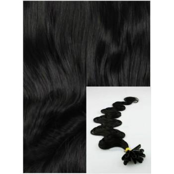 Vlnité vlasy na keratin, 60 cm 0,7g/pr., 50 pramenů - černá