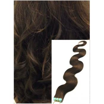 Vlnité vlasy k prodloužení tape in, 50 cm, 40 ks - STŘEDNĚ HNĚDÉ