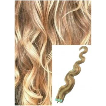 Vlnité vlasy k prodloužení tape in, 50 cm, 40 ks - SVĚTLÝ MELÍR