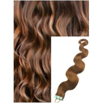 Vlnité vlasy k prodloužení tape in, 60 cm, 40 ks - SVĚTLE HNĚDÉ