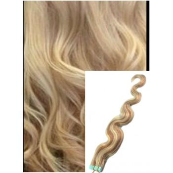 Vlnité vlasy k prodloužení tape in, 60 cm, 40 ks - PLATINOVÁ BLOND / SVĚTLE HNĚDÁ