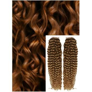 Kudrnaté vlasy k prodloužení tape in, 50 cm, 40 ks - SVĚTLE HNĚDÉ