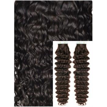 Kudrnaté vlasy k prodloužení tape in, 60 cm, 40 ks - TMAVĚ HNĚDÉ