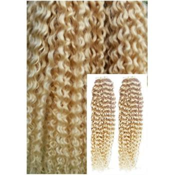 Kudrnaté vlasy k prodloužení tape in, 60 cm, 40 ks - PLATINOVÉ
