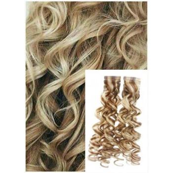 Kudrnaté vlasy k prodloužení tape in, 60 cm, 40 ks - PLATINOVÁ BLOND / SVĚTLE HNĚDÁ