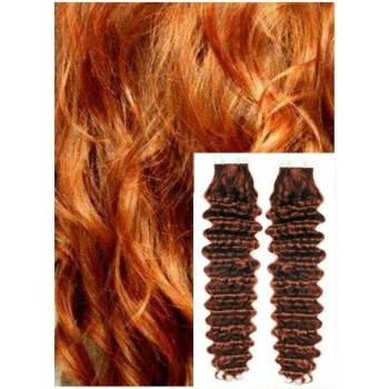 Kudrnaté vlasy k prodloužení tape in, 60 cm, 40 ks - MĚDĚNÉ