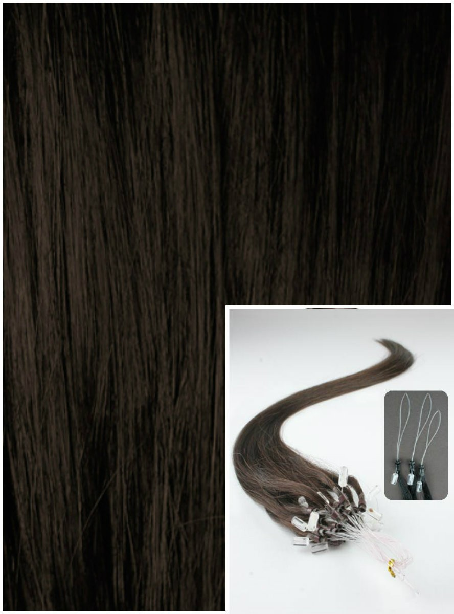 Micro ring vlasy, 40 cm 0,5g/pr., 50 pramenů - TMAVĚ HNĚDÉ