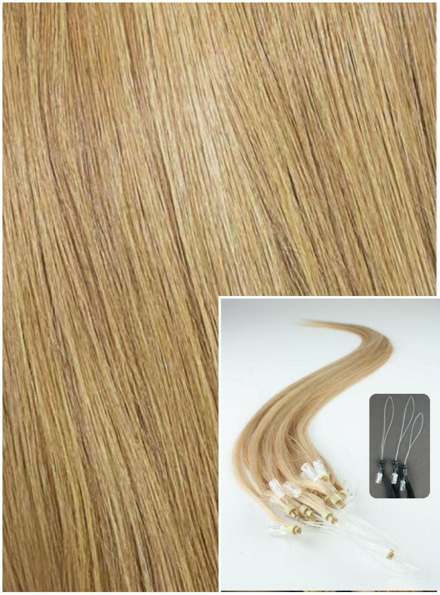 Micro ring vlasy, 40 cm 0,5g/pr., 50 pramenů - PŘÍRODNÍ BLOND