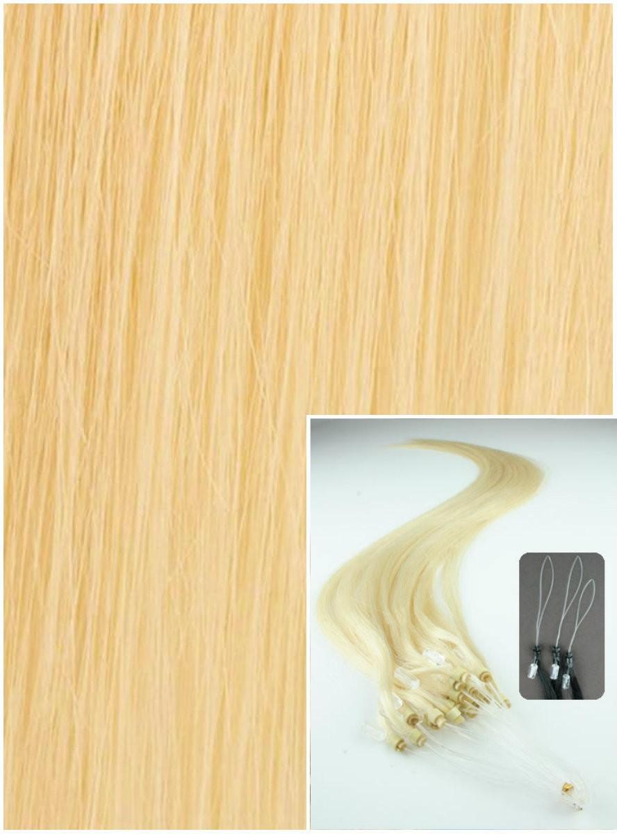 Micro ring vlasy, 40 cm 0,5g/pr., 50 pramenů - NEJSVĚTLEJŠÍ BLOND