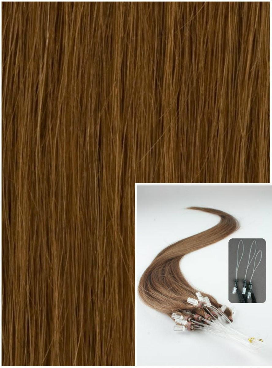 Micro ring vlasy, 40 cm 0,7g/pr., 50 pramenů - SVĚTLEJŠÍ HNĚDÉ