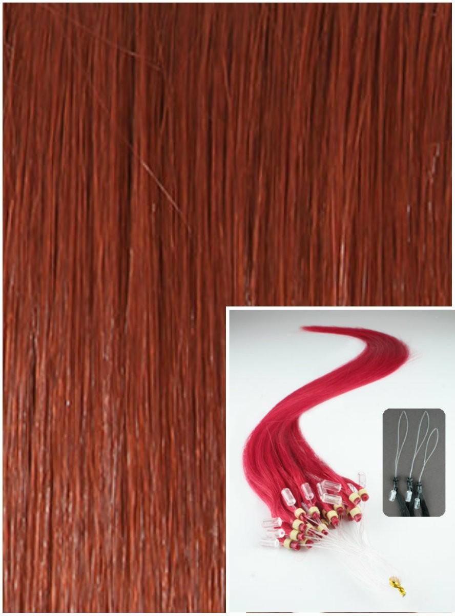 Micro ring vlasy, 40 cm 0,7g/pr., 50 pramenů - MĚDĚNÉ