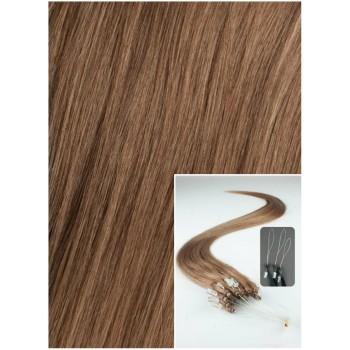 Micro ring vlasy, 50 cm 0,7g/pr., 50 pramenů - SVĚTLE HNĚDÉ
