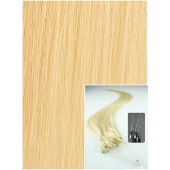 Micro ring vlasy, 60 cm 0,7g/pr., 50 pramenů - NEJSVĚTLEJŠÍ BLOND