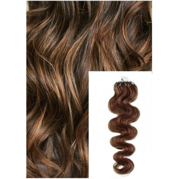 Vlnité micro ring vlasy, 50 cm 0,7g/pr., 50 pramenů - SVĚTLEJŠÍ HNĚDÉ