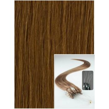Micro ring vlasy, 60 cm 0,5g/pr., 50 pramenů - SVĚTLE HNĚDÉ
