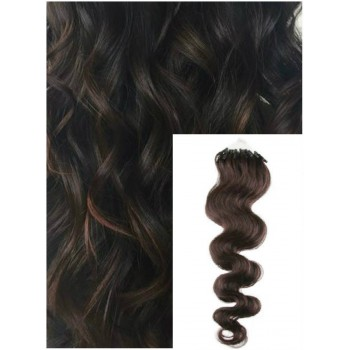 Vlnité micro ring vlasy, 60 cm 0,5g/pr., 50 pramenů - TMAVĚ HNĚDÉ