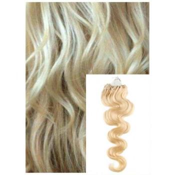 Vlnité micro ring vlasy, 60 cm 0,7g/pr., 50 pramenů - NEJSVĚTLEJŠÍ BLOND