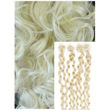 Kudrnaté micro ring vlasy, 50 cm 0,7g/pr., 50 pramenů - PLATINOVÉ